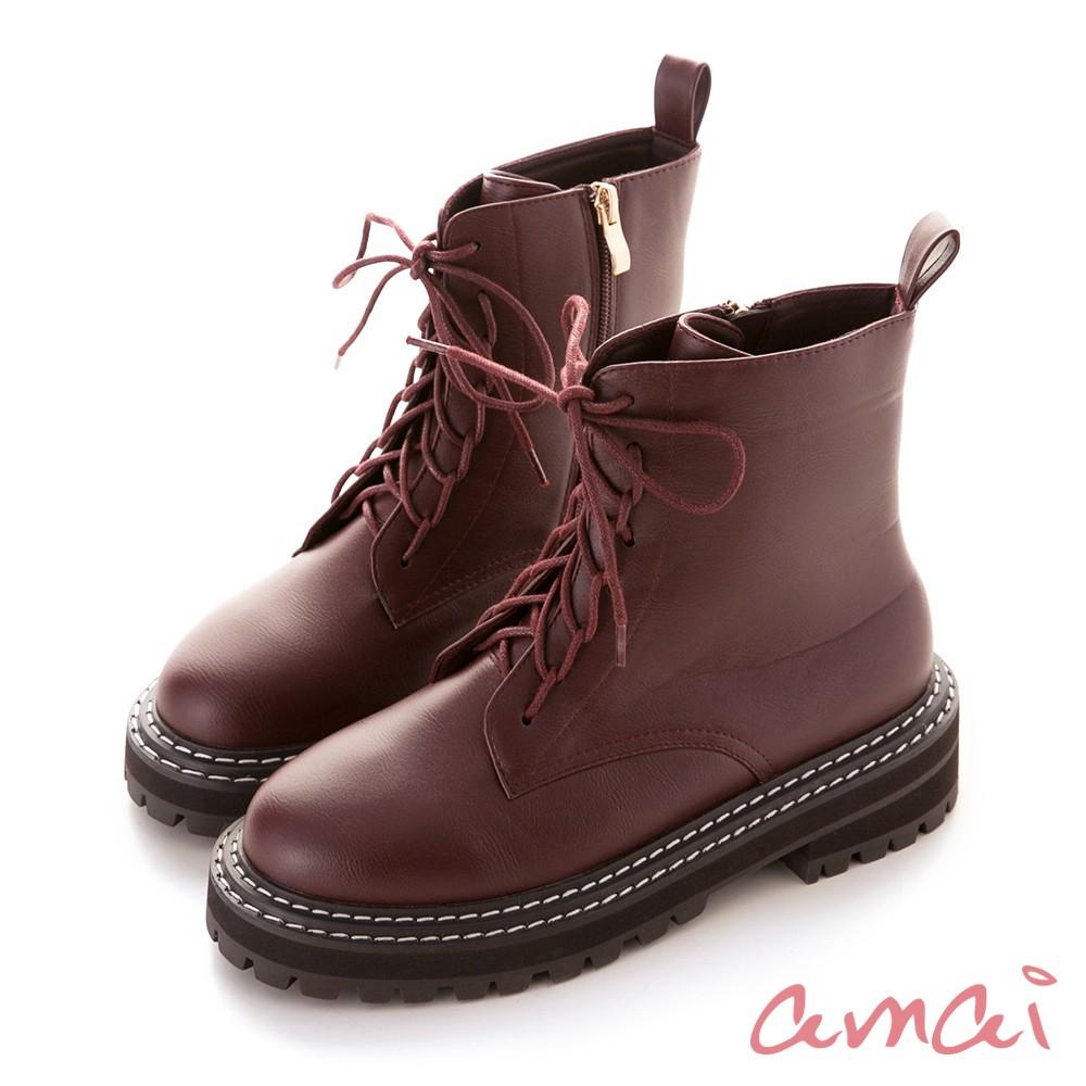 amai 厚底粗縫線鞋邊馬汀靴 紅 GB-26RD