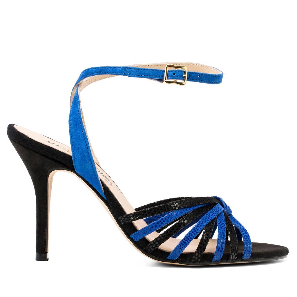 ELODIE 真皮踝帶高跟涼鞋-黑/藍