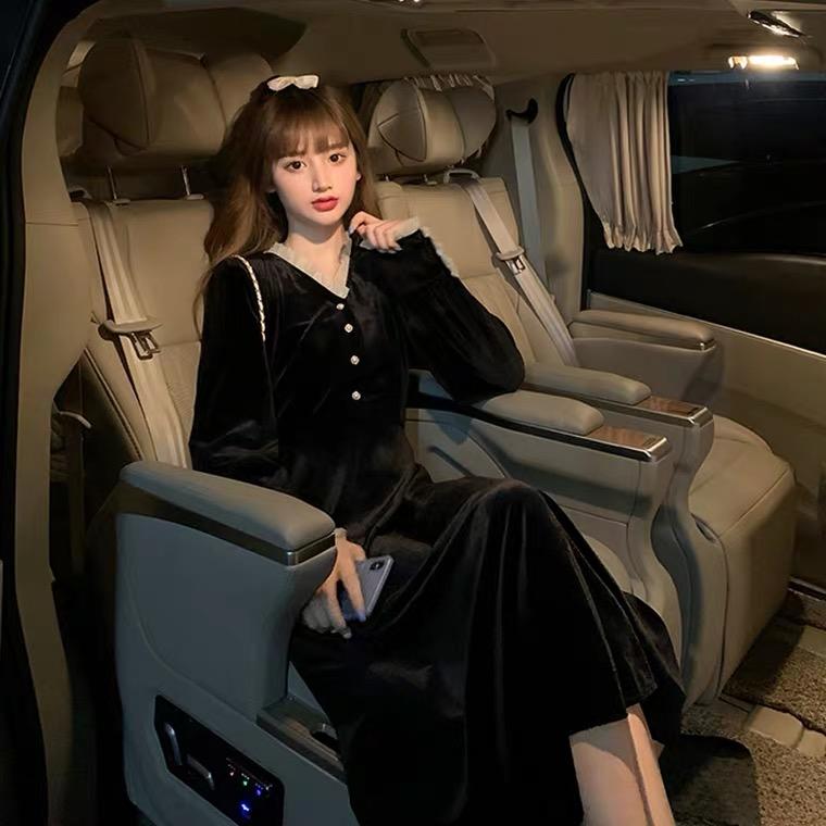M-4XL大尺碼衣著 法式小眾蕾絲拼接黑絲絨V領長袖洋裝女裝秋季新款過膝裙子