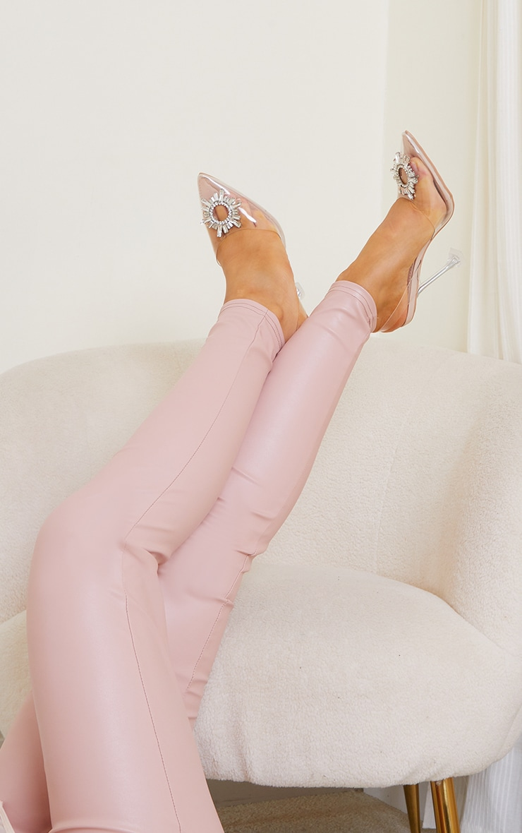 Nude Clear Diamante Sling Back Cake Stand High Heels