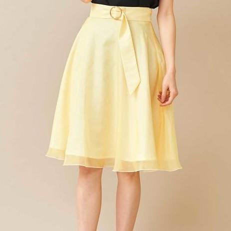 titty&Co.【Y9122-004】腰帶雪紡薄紗膝上裙 (黃色)