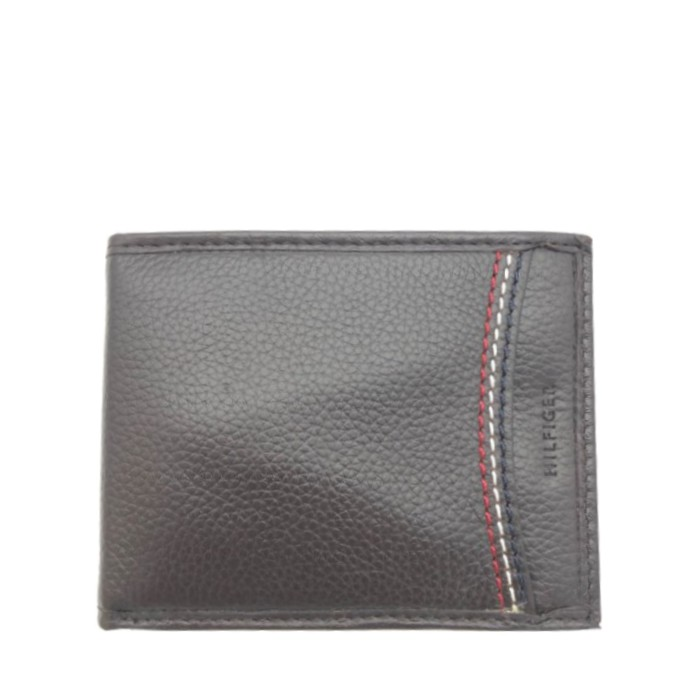 Tommy Hilfiger 男夾 短夾 卡片夾 皮夾 錢包 名片夾 禮盒裝 T91891 深咖啡色真皮皮革(現貨)