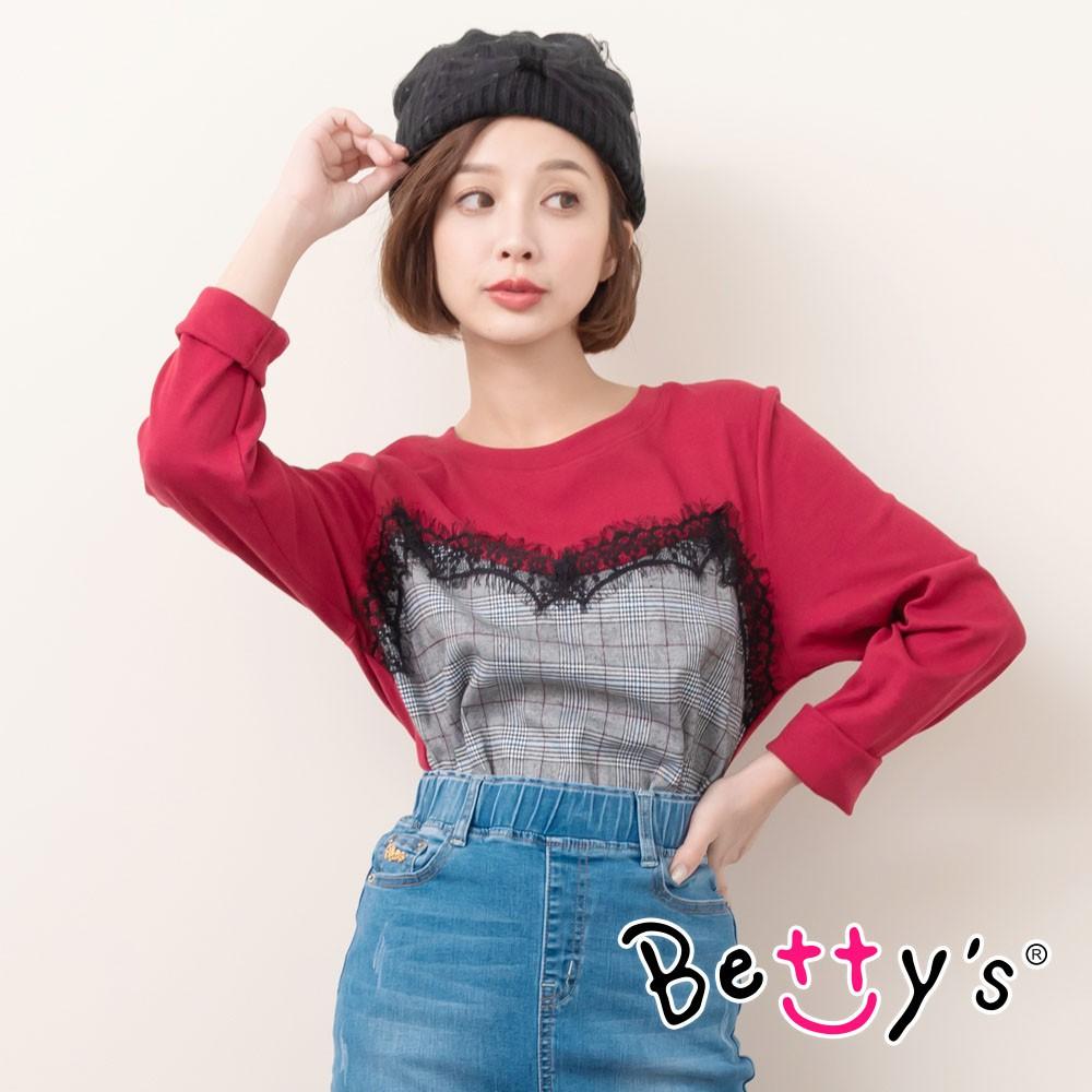 betty's貝蒂思 蕾絲拼接千鳥格紋圓領T-shirt(紅色)