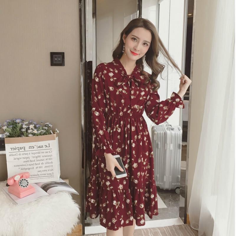 IELGY 新款碎花洋裝女寬鬆長裙仙洋氣顯瘦氣質時尚