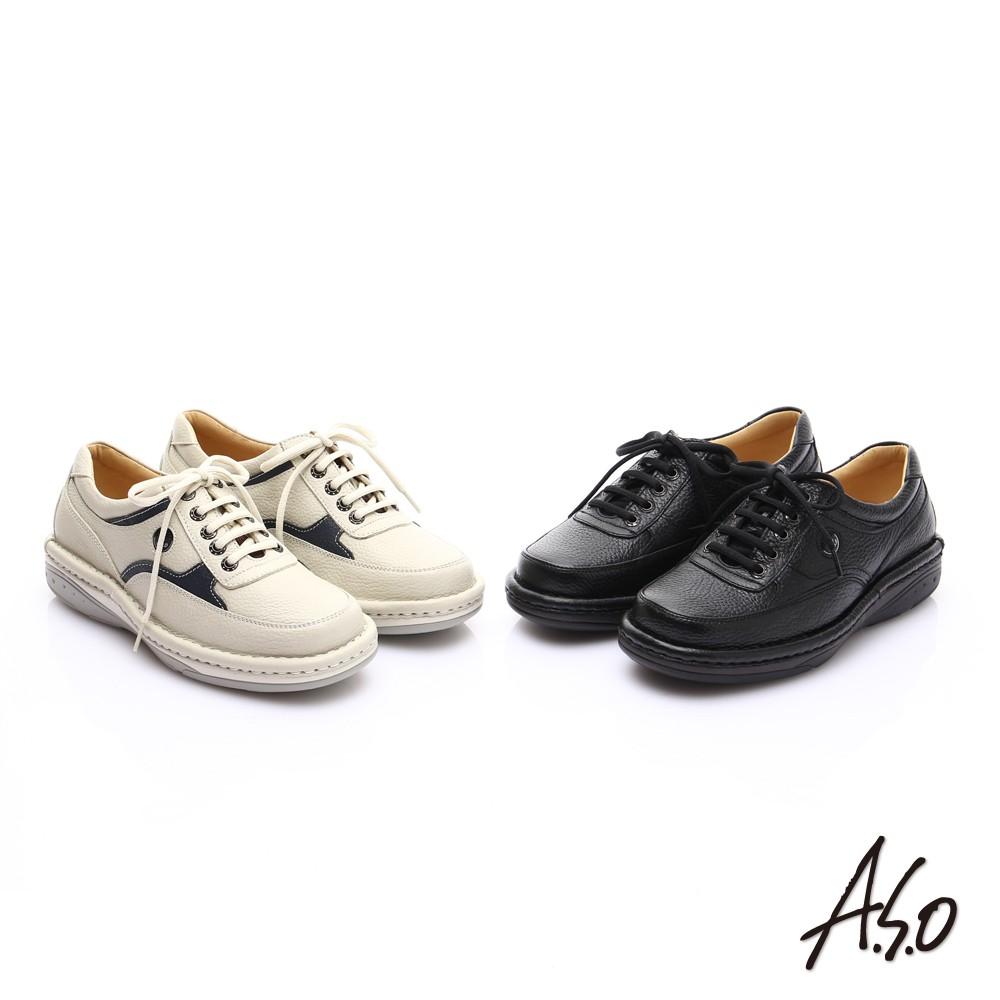 【A.S.O阿瘦】抗震雙核心 真皮外翻雙縫線奈米休閒鞋-米/黑