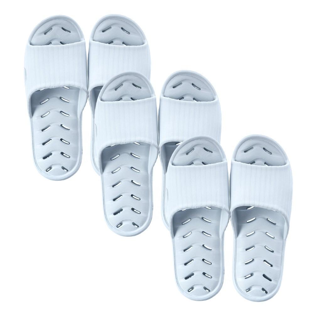 (組)緩壓排水浴室拖鞋淺藍Sx2+Mx1