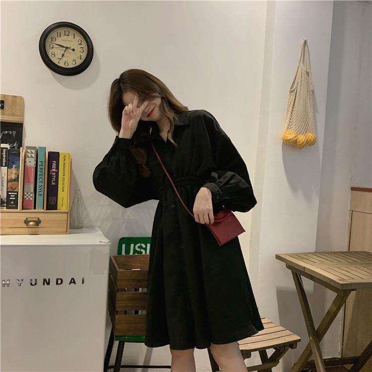 法式復古中長款 韓版長袖襯衫裙 秋季新款黑色洋裝 女生衣著衣服 韓妞必備閨蜜正韓女裝CC830