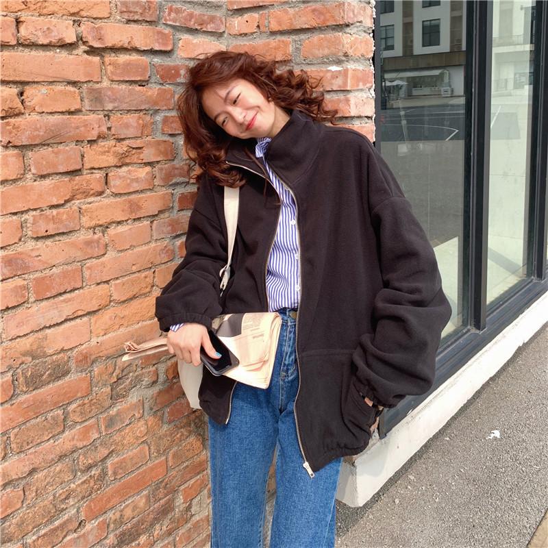 【免運】外套 長袖開衫 學院風休閒素色運動外套 復古男友風寬鬆素色拉鍊外套上衣女