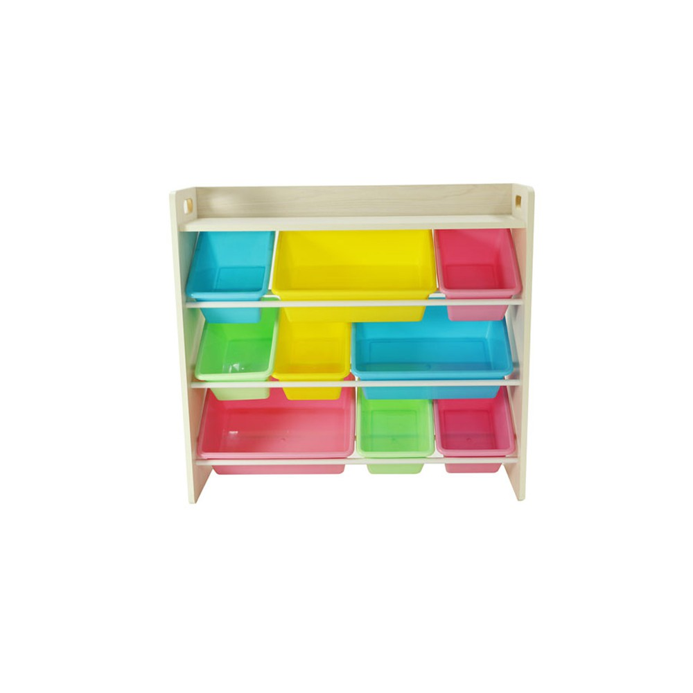 【Hi-toys】多功能木質九格玩具收納架_馬卡龍粉