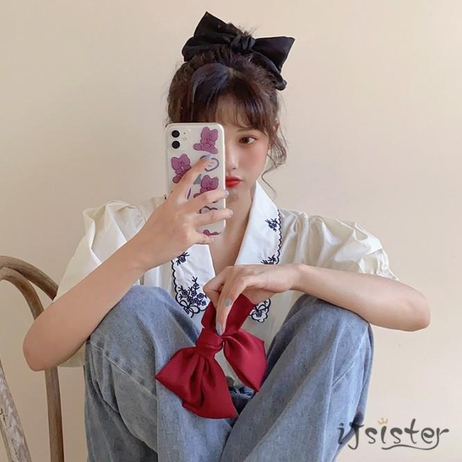 蝴蝶結髮夾劉海夾甜美緞面彈簧夾頭飾夾子韓國髮夾(13色)