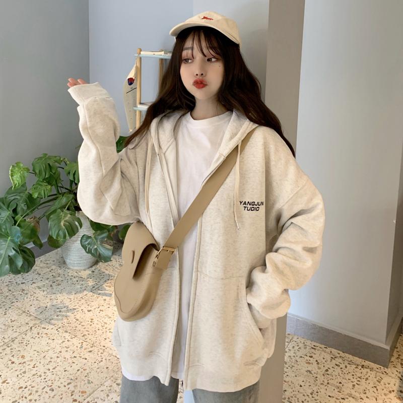 【現貨】韓國休閒長袖帽t大學T寬鬆顯瘦時尚減齡刷毛保暖學院風個性減齡連帽開衫外套上衣女