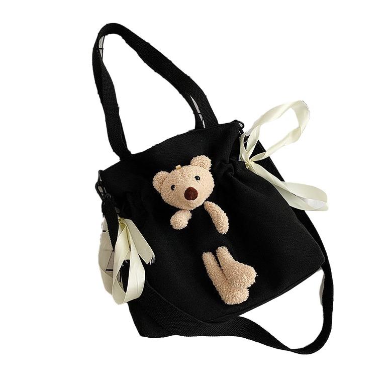 小熊包包 帆布包 側背包 兩用包 可愛小熊包包女新款潮大容量帆布包女學生韓版百搭單肩斜挎包