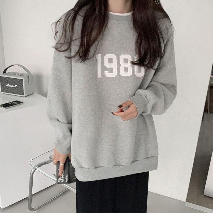 38658刷毛款 長袖基本款大學T 上衣 薄荷美衣