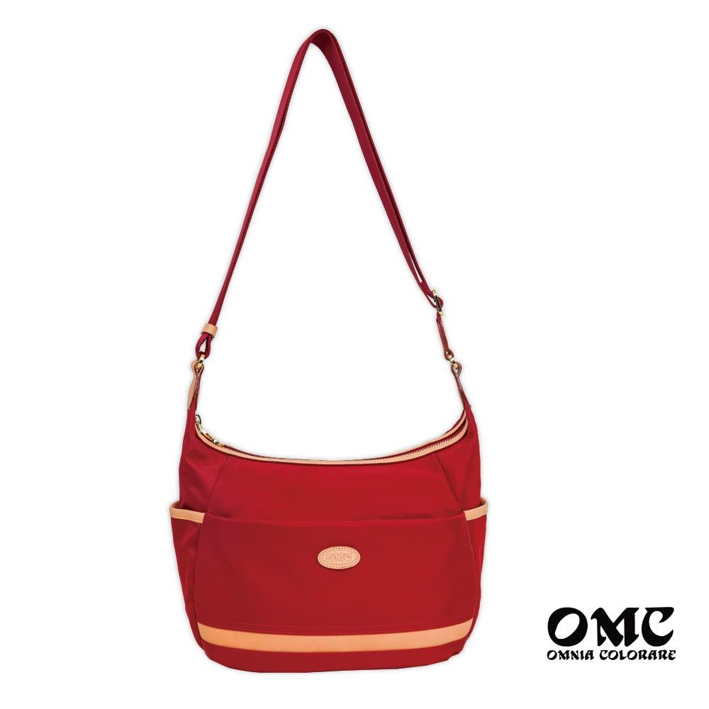 【OMC】流線休閒大容量斜背包(紅色)輕盈防潑水 全新正品 免運中