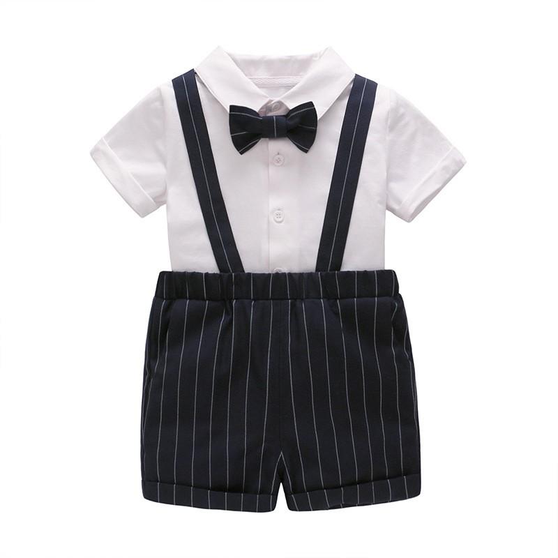 Vlinder童裝男寶寶帥氣套裝白色襯衫黑色褲子小領結西裝