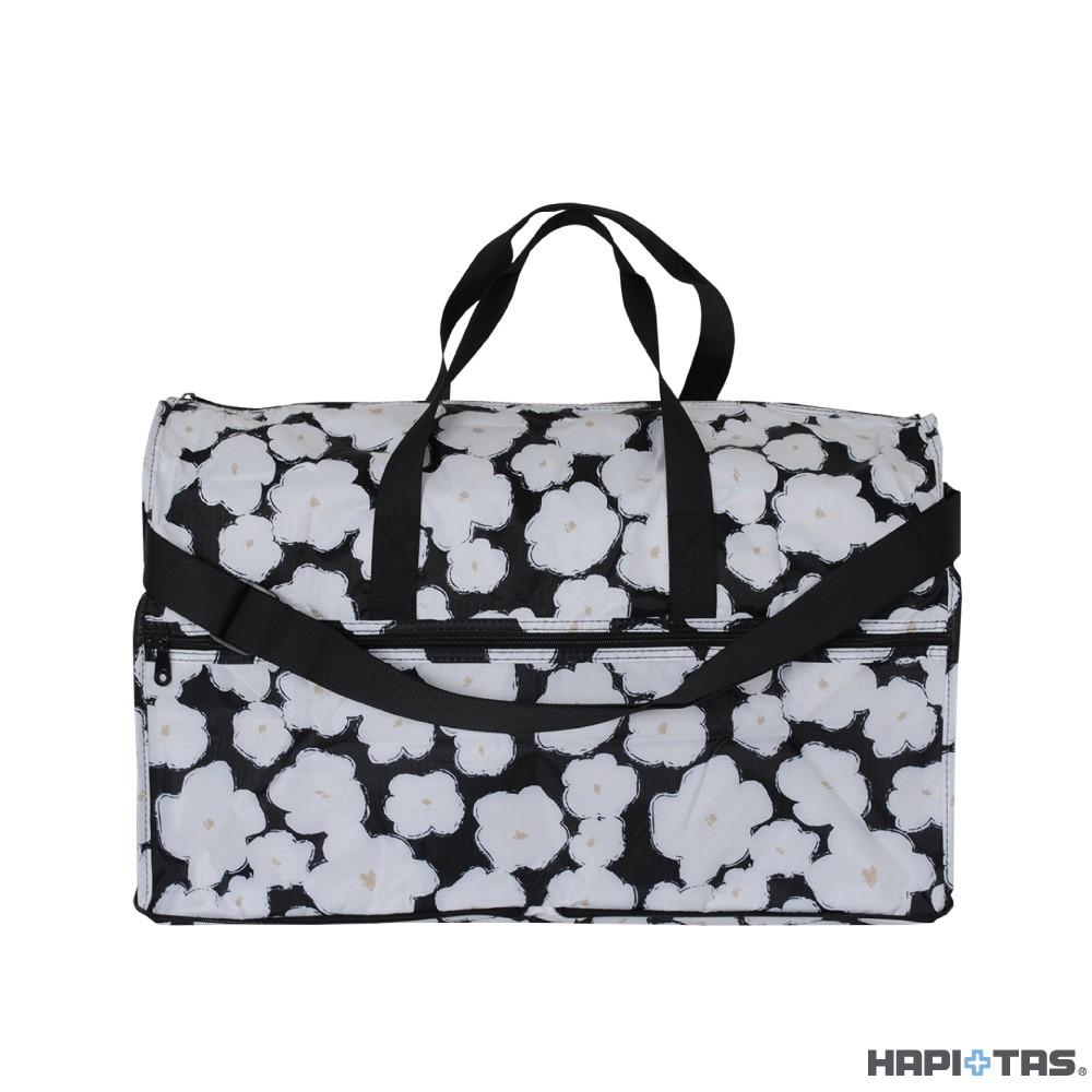 Hapi+Tas 黑色塗鴉花朵 H0004摺疊旅行袋(大) 【旅遊補給】生日禮物 聖誕禮物 情人節禮物