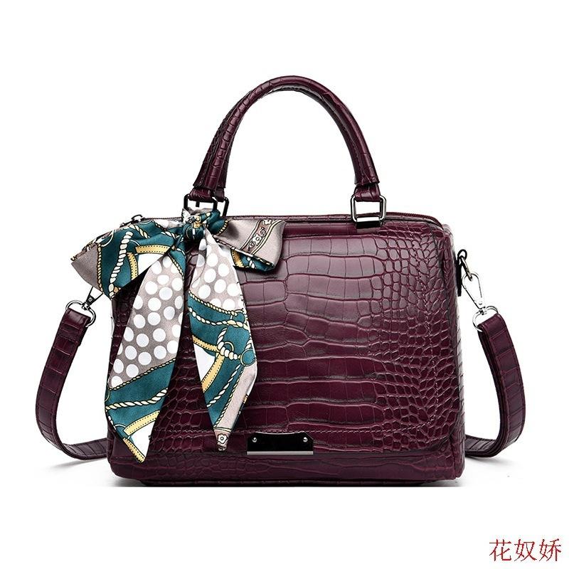 時尚軟皮包包女2020新款潮時尚氣質斜跨包大容量鱷魚紋單肩手提包