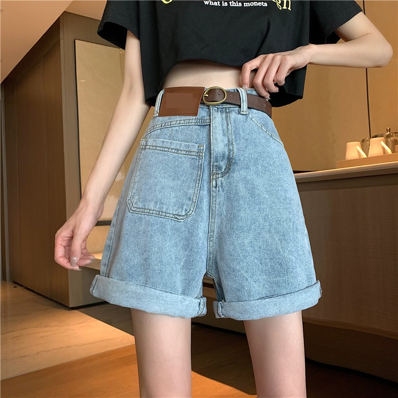 寬鬆復古chic高腰顯瘦牛仔短褲女寬褲口袋五分褲 實拍實價
