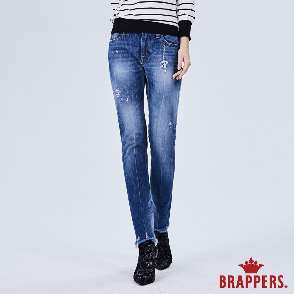 BRAPPERS 女款 新美腳ROYAL系列-彈性褲口抽鬚八分褲-藍