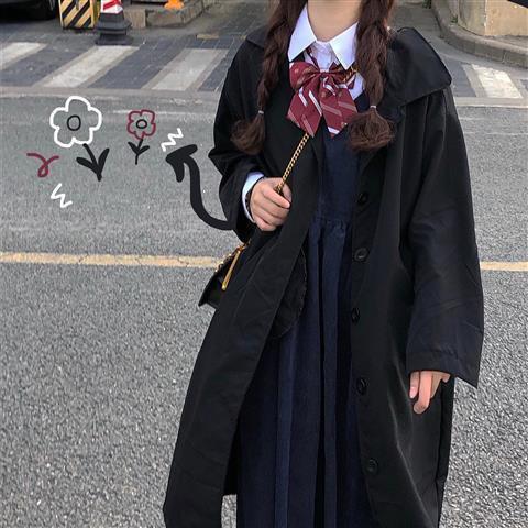 長版外套 長版襯衫 長袖風衣 韓版外套 秋款女裝新款外套女學生韓版寬鬆長袖上衣風衣女中長款jk制服