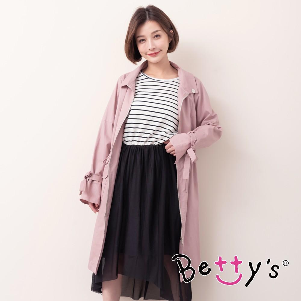 betty's貝蒂思 簡約質感束帶風衣外套 (藕粉色)