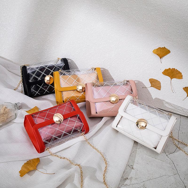 【免運】設計感小眾子母包 透明條紋鏈帶包包女2020新款潮流拼色單肩手機包ins潮