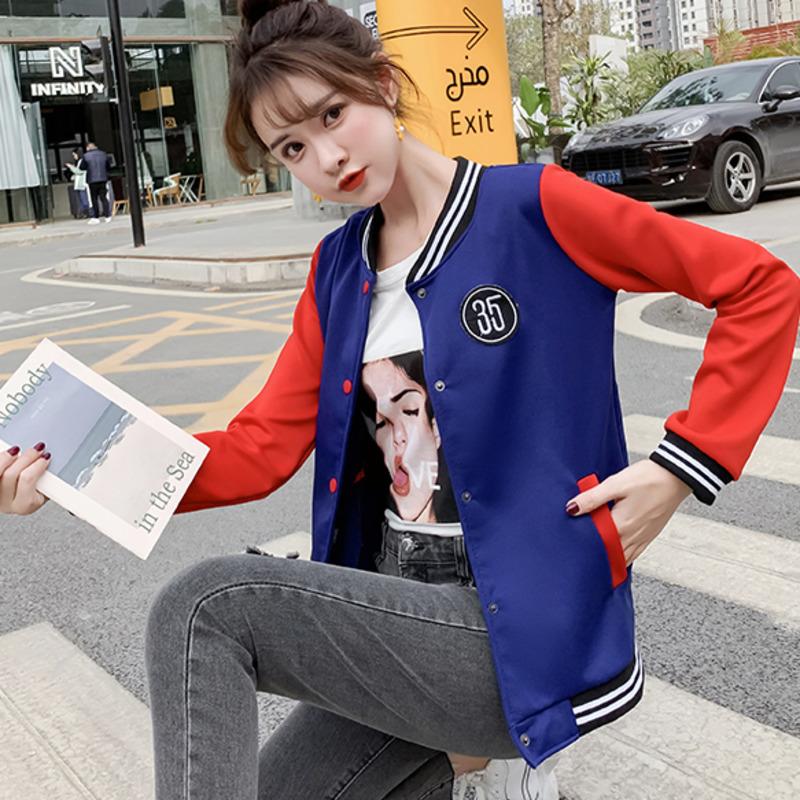 【現貨】韓版學院風拼色棒球外套女生棒球服寬鬆上衣時尚百搭夾克衫