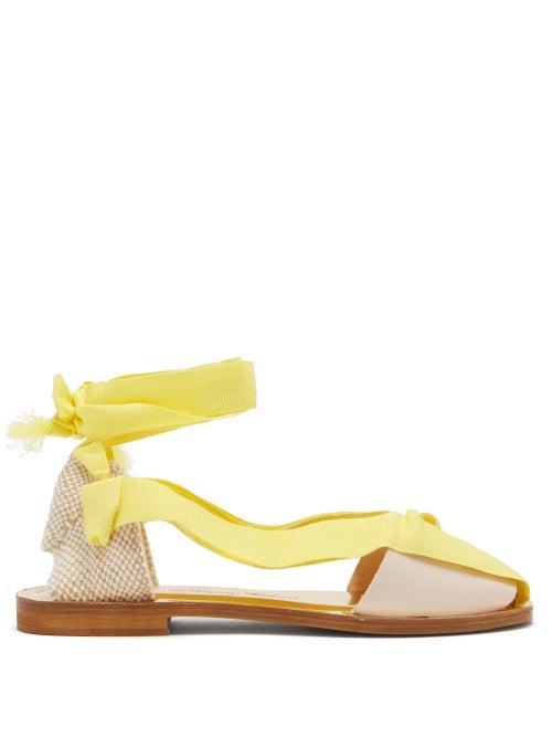 Álvaro - X Thierry Colson Teresa Wrap-tie Canvas Sandals - Womens - Yellow White