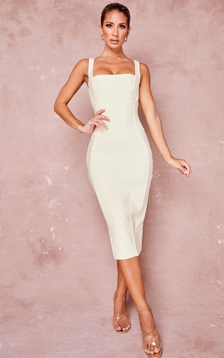 Cream Bandage Panel Detail Sleeveless Midi Dress