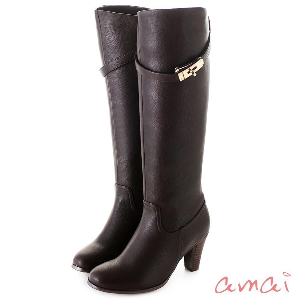 amai 皮帶金鎖2WAY顯瘦長靴 咖 AC102-89BN