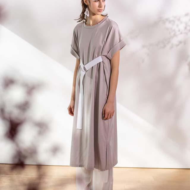 UN3D. - 落肩袖寬版綁帶洋裝