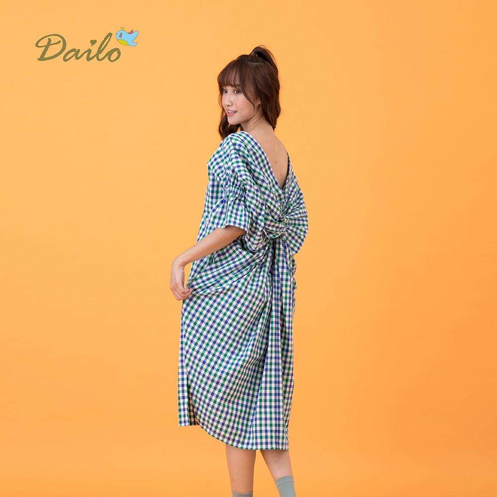 【Dailo】扭結造型格紋-洋裝(三色/版型適中)