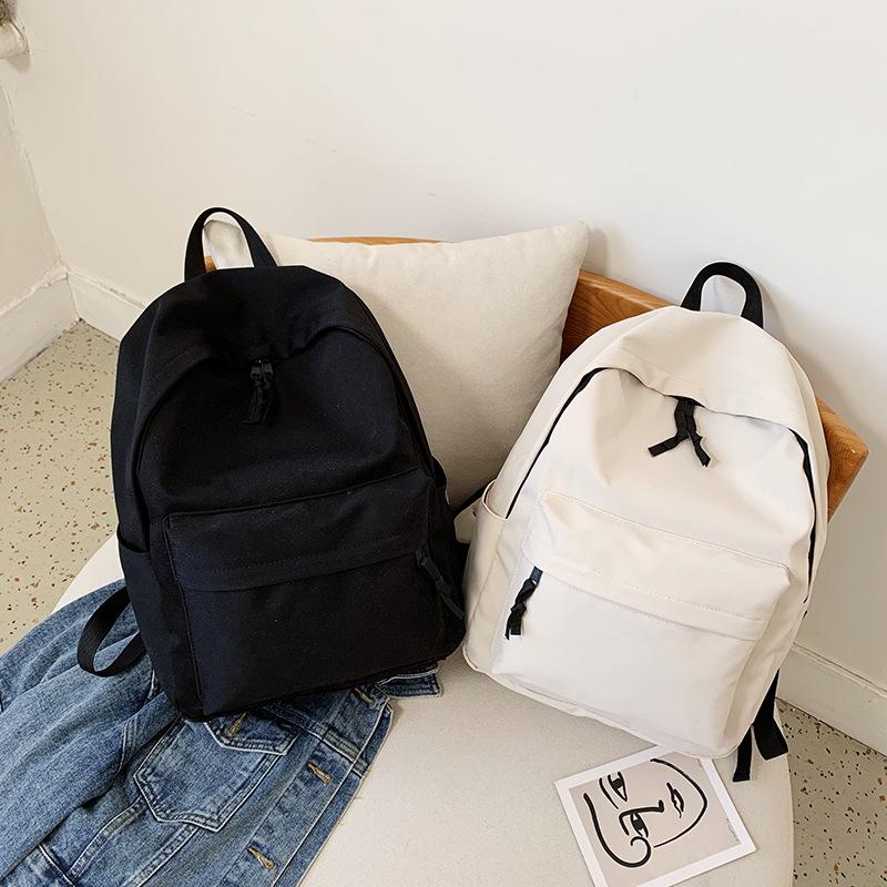 【免運】簡約帆布雙肩包網紅情侶超大容量後背包 休閒學院風黑白2色旅行包 學生書包