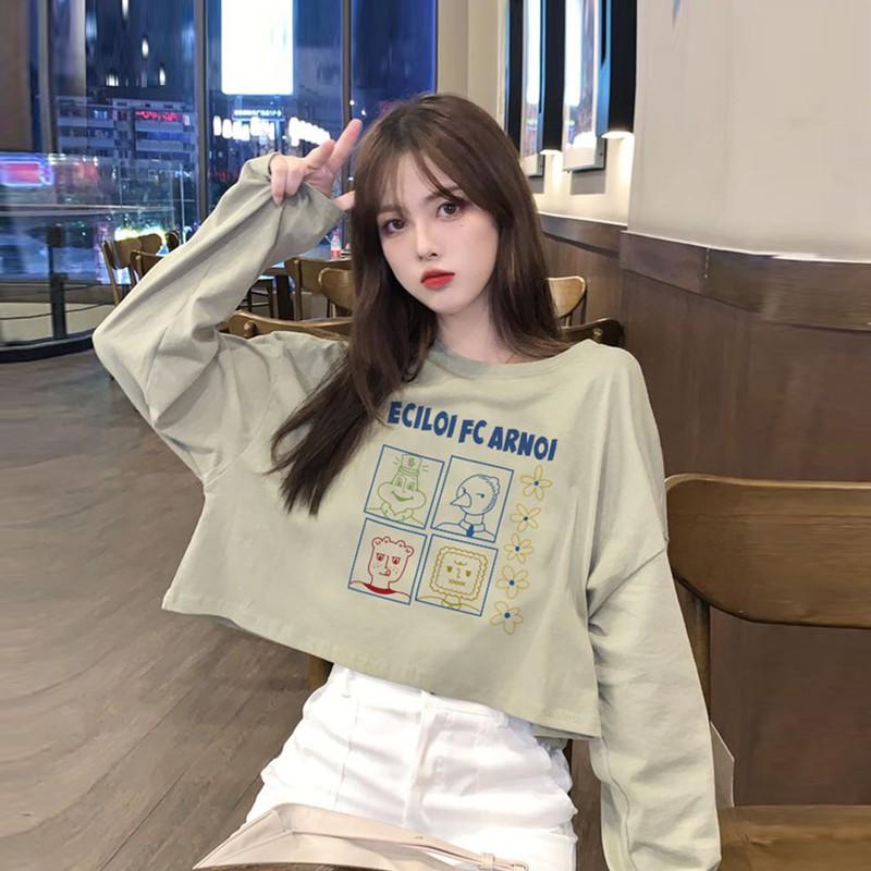 長袖T恤 印花T恤 韓版T恤 短版上衣 秋季新款韓版ins熱門卡通趣味高腰短版上衣網紅寬鬆長袖T恤女