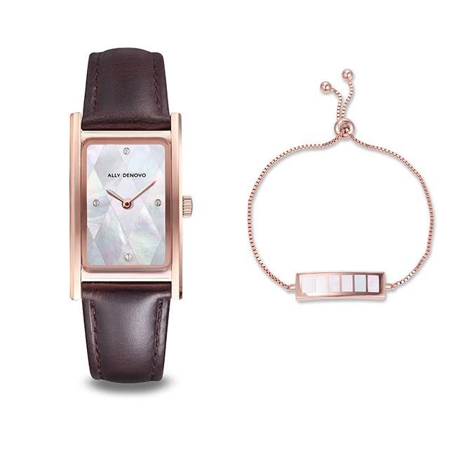 ALLY DENOVO珍珠白菱玫瑰金框咖啡手錶(AR5002.5)【ERICA STORE】