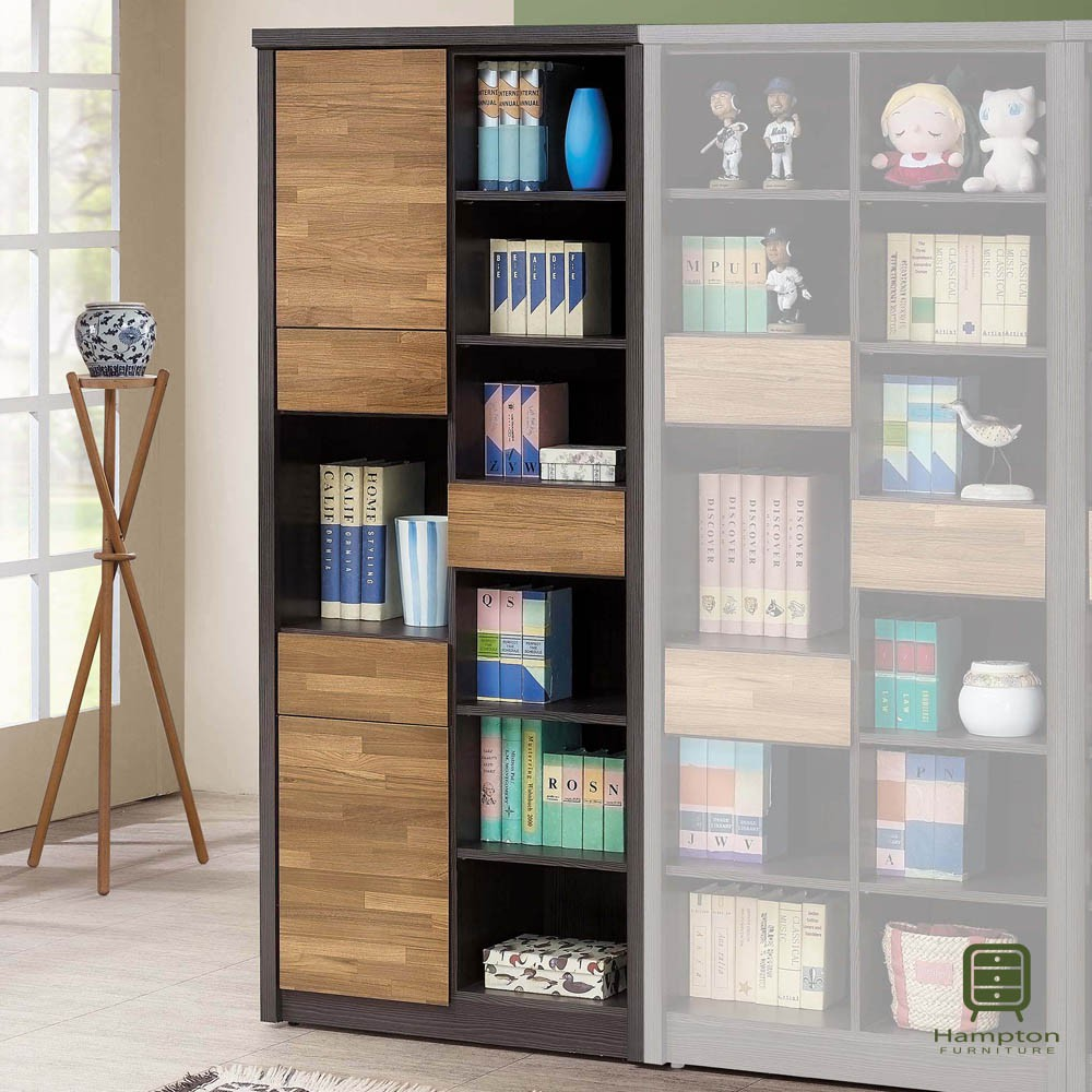 【Hampton 漢汀堡】柏格納雙色積層木2.7尺書櫥-左(書櫃/櫥櫃/收納櫃/置物櫃)