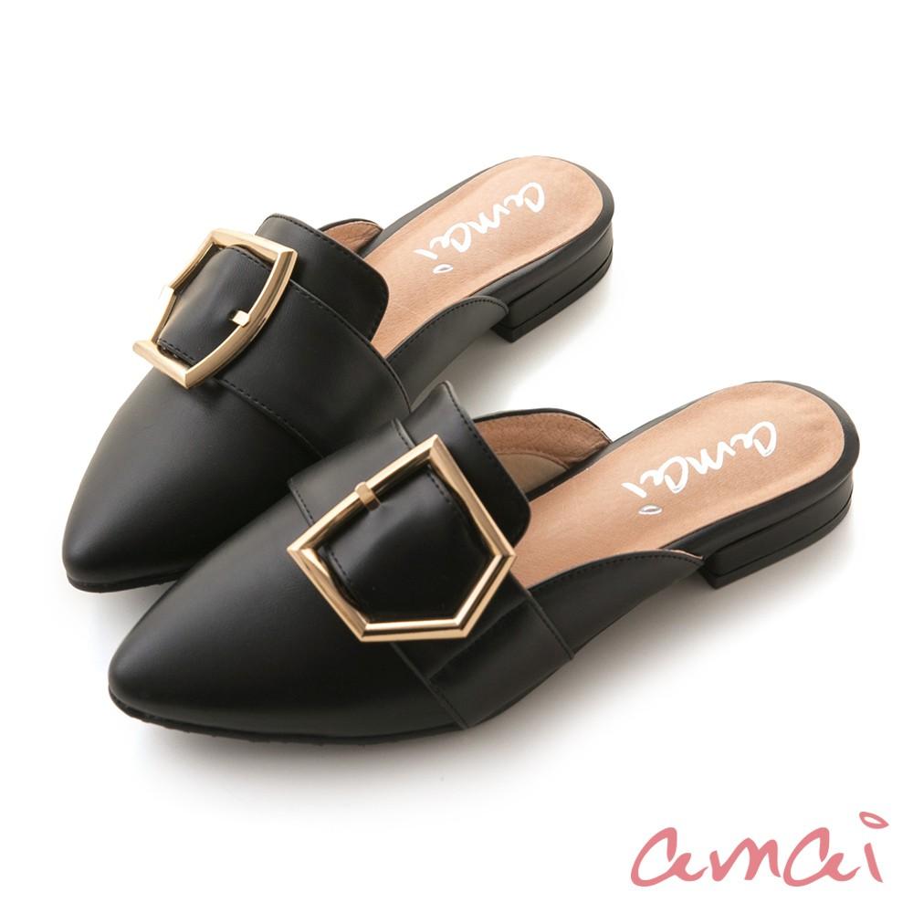 amai 五角金屬釦懶人穆勒鞋 黑 SP9-1BK