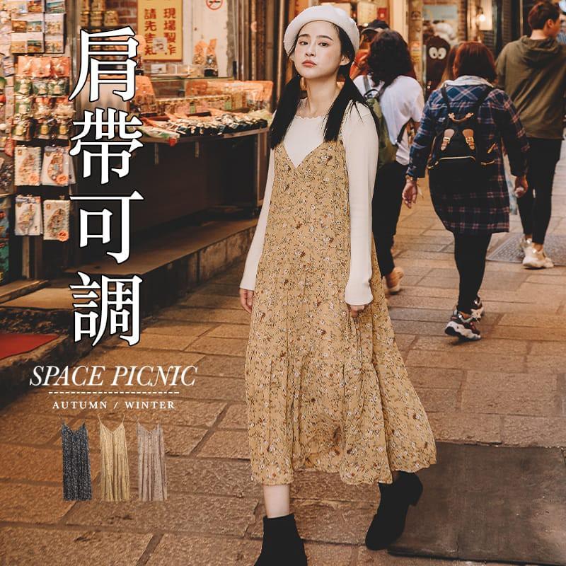 Space Picnic|碎花雪紡細肩連身蛋糕裙(現貨)【C20081031】