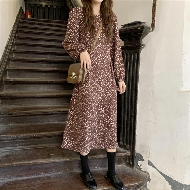 碎花洋裝 長袖洋裝 復古洋裝 法式洋裝 秋季新款法式寬鬆顯瘦中長款復古氣質碎花長裙泡泡袖女