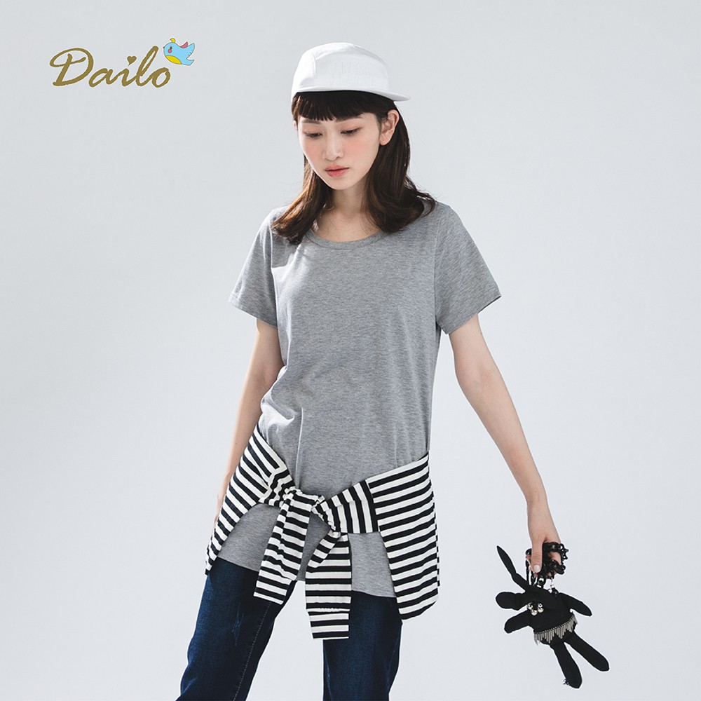 【Dailo】條紋綁腰結標語長版-上衣(三色)