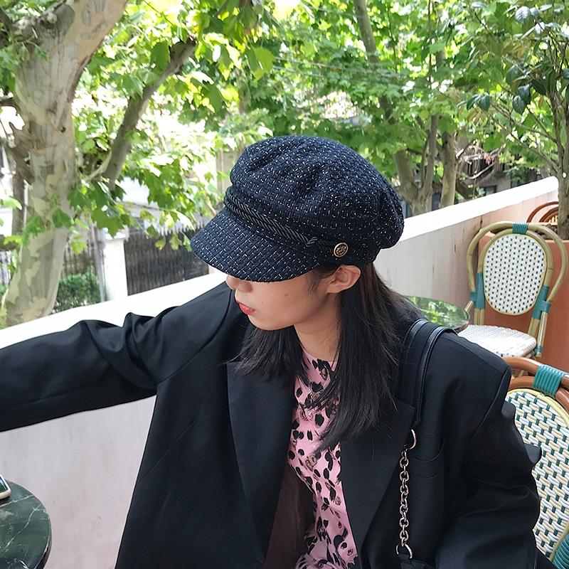 木瓜製品/網紅時尚貝雷帽女 秋冬粗花呢小香風軍帽 平頂英倫報童帽