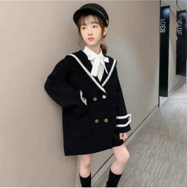 女童毛呢外套 女童風衣毛呢外套秋裝新款中大童洋氣時髦呢子大衣兒童衣服潮 麗人印象 免運