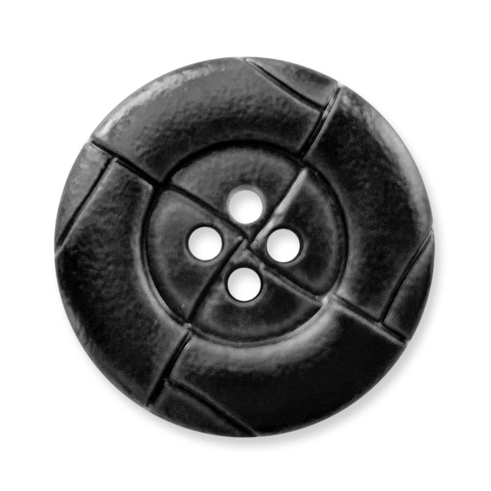 歐風復古4孔 尼龍仿皮釦 仿皮鈕釦 10顆/組 義大利進口 0249 黑色