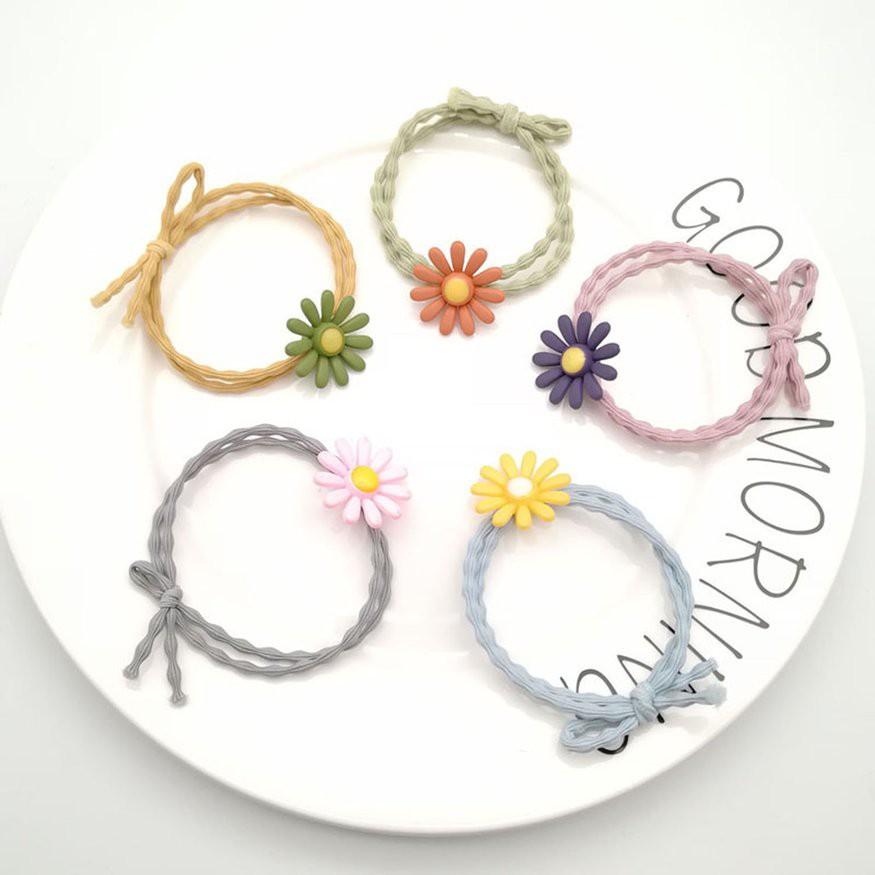 簡單風格的小雛菊圖案 發繩的女孩可愛的髮飾 小雛菊頭繩女發繩 韓版ins可愛發飾 森系發圈 甜美 潮可