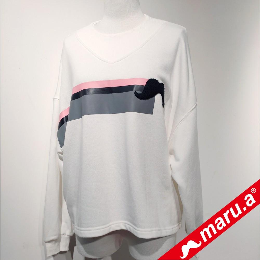 maru.a (99)寬版鬍子圖案圓領T-shirt(共二色)