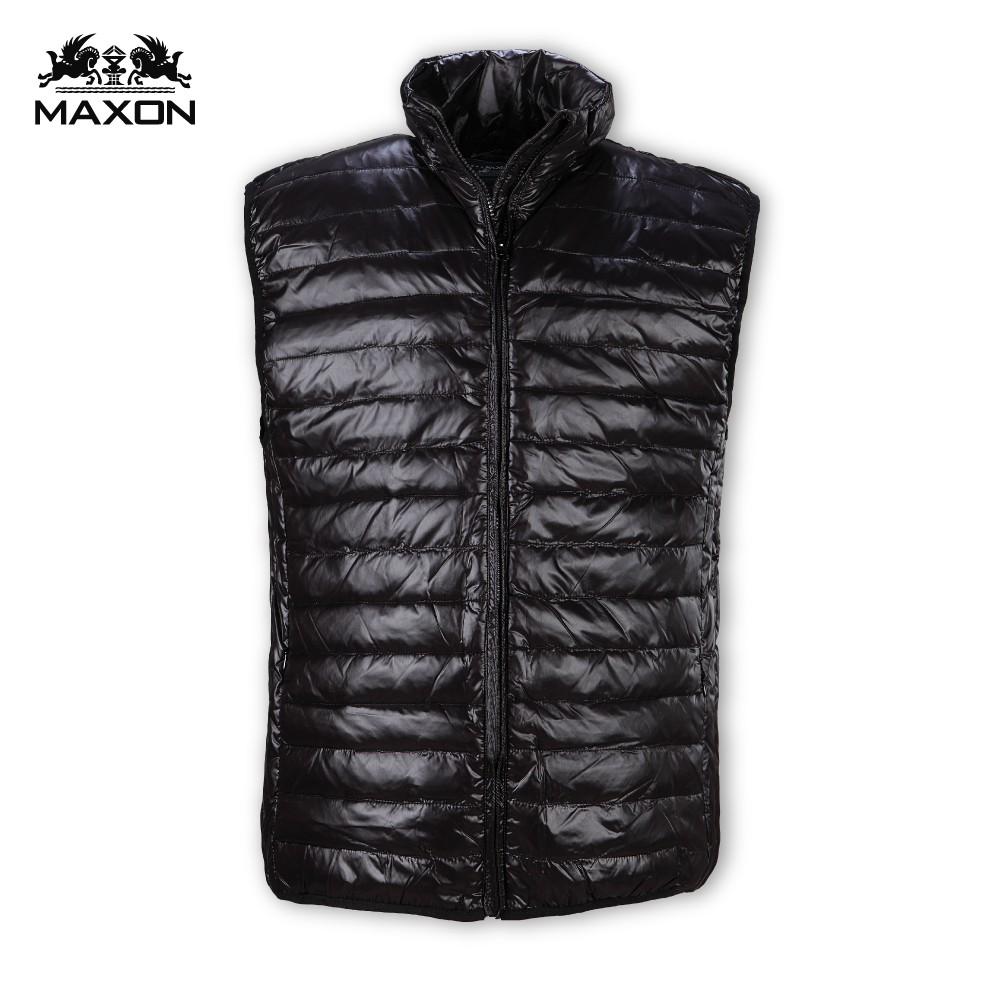 【MAXON大尺碼】黑色亮面輕量化羽絨立領背心2XL~5XL 保暖 超取免運