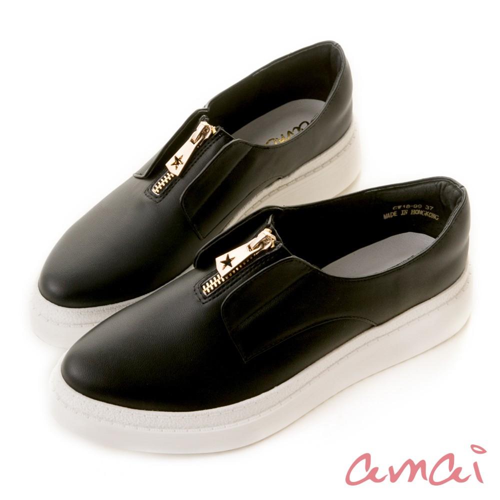 amai 《穿厚底來摘星》前低後高厚底休閒鞋 黑 GW18-99BK【預購01/29出貨】