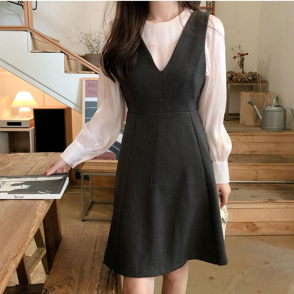 38424 優雅氣質微透長袖襯衫/V領收腰顯瘦背心裙洋裝 薄荷美衣