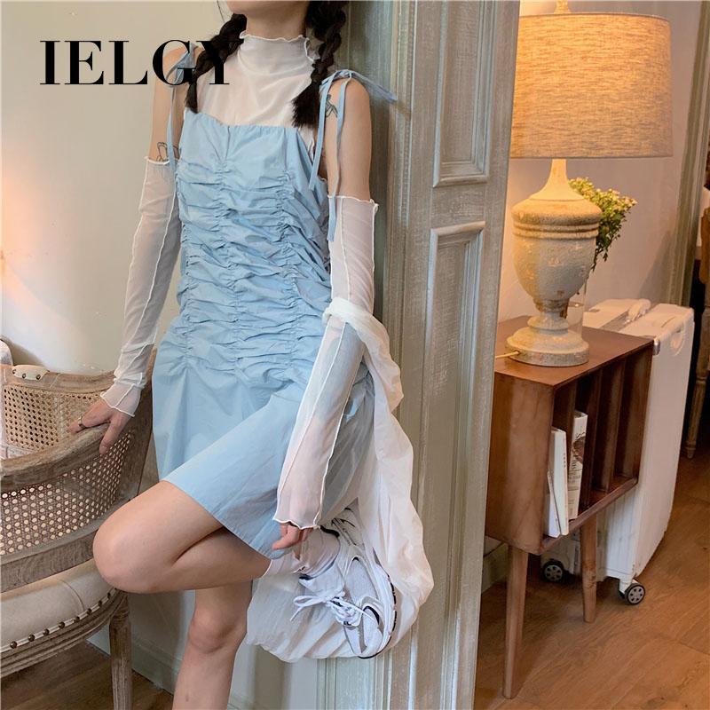 IELGY 一字肩藍色顯瘦無袖洋裝女新款性感短裙氣質法式裙子