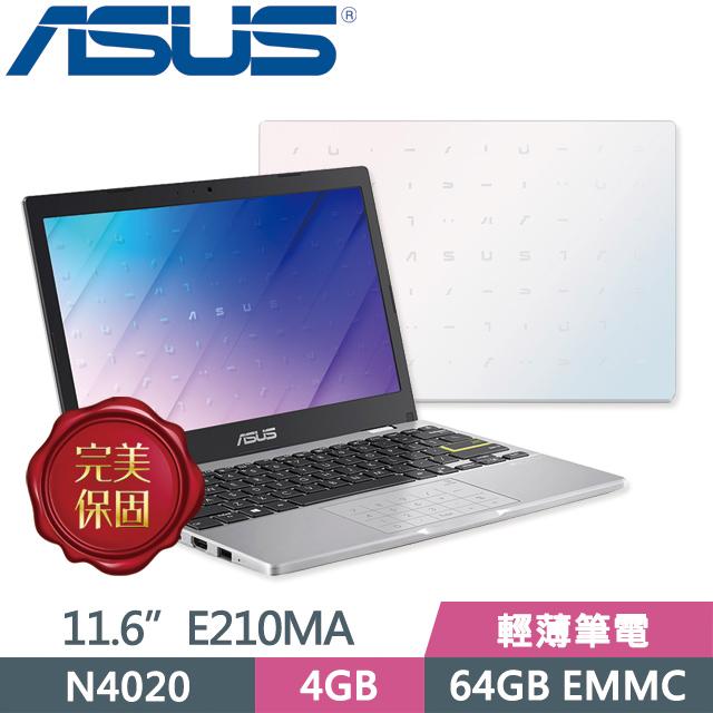 ASUS Laptop E210MA-0021WN4020 夢幻白 (N4020/4G/64GB EMMC/11.6吋/Win10 Home S) 輕薄筆電